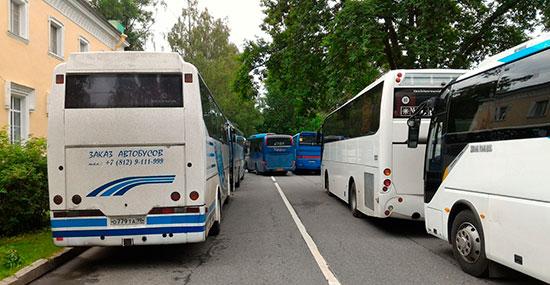 Парковка автобусов в Петергофе