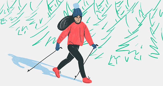 Скандинавская ходьба зимой